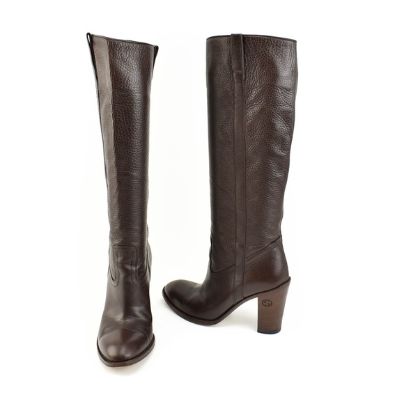 Dark Brown Leather Gg Logo Tall Boots